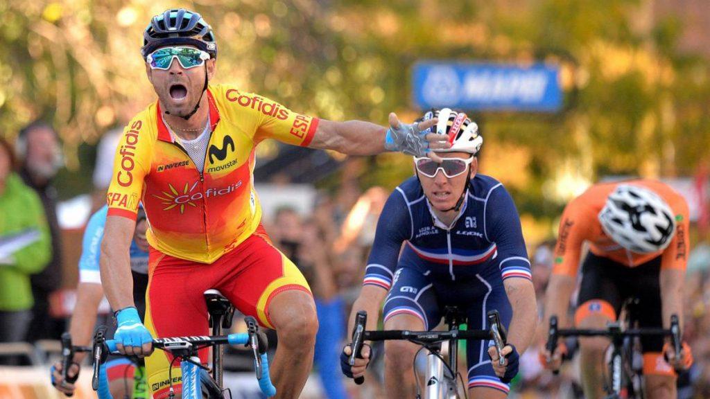 Alejandro Valverde ganando el mundial de 2018