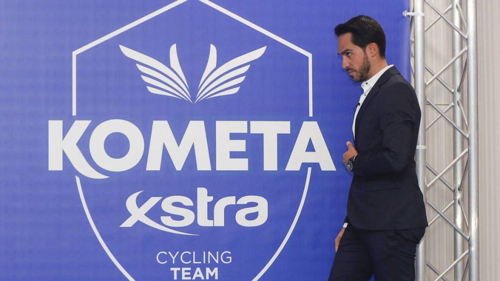 Alberto Contador en la presentación del nuevo equipo Eolo-Kometa