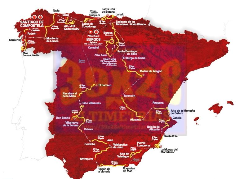 vuelta2021mapa - Desvelado el recorrido de la Vuelta a España 2021